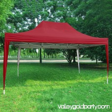 Quictent Privacy 10x15 EZ Pop Up Canopy Party Tent Gazebo 100% Waterproof with Sides and Mesh Windows Red