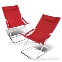 Magshion 4 Position Pair Folding Beach Camping Patio Outdoor Travel Recliners Chair Set of 2 Blue
