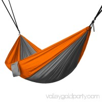 Portable 2 Person Hammock Rope Hanging Swing Fabric Camping Bed - Grey & Blue