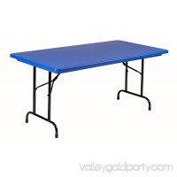 Correll Commercial Duty BLUE Plastic Top Folding Table One-Piece Blow-Molded Plastic Top is Waterproof, Scratch, Stain, & Impact Resistant, Colors go all the way through 557606420