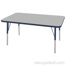ECR4Kids 30in x 48in Rectangle Everyday T-Mold Adjustable Activity Table Grey/Navy - Standard Swivel 565360995