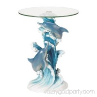 Zingz & Thingz 57070214 Playful Dolphins Accent Table with Glass Top