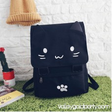Canvas Backpack,Coofit Cartoon Cute Cat Casual Backpack Laptop Backpack School Travel Black Backpack Bag for Student Girls Women