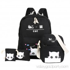 Vbiger Chic Canvas Backpack Set 4-in-1 Shoulder Bags Casual Student Daypack for Teenage Girls, Cute Cat Pattern, Black