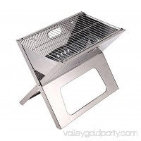 Stainless Steel BBQ Charcoal X Grill Compact Notebook Portable & Folding Tailgating Stowaway Fire