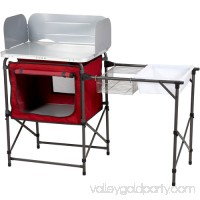 Ozark Trail Deluxe Camp Kitchen with Storage and Sink Table, Red   553639181