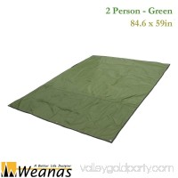 WEANAS 2 Person Outdoor Thickened Oxford Fabric Camping Shelter Tent Tarp Canopy Cover Tent Groundsheet Blanket Mat (Green 2 Person)