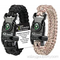 A2S Protection Paracord Bracelet K2-Peak - Survival Gear Kit with Embedded Compass, Fire Starter, Emergency Knife & Whistle Black / Black Adjustable size
