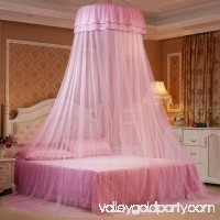 Elegant Lace Hanging Bedding Mosquito Net Dome Top Princess Bed Canopy Netting - Pink