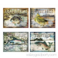 Classic Outdoors Fishing Signs: Lakeview, Fish Camp, Gone Fishing, to the Lake; Four 14x11 Prints